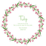 Postcard with pink tulips arranged in a circle. Polygon style wreath of flowers. Vector illustration on white background Royalty Free Stock Photos