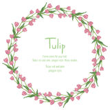 Postcard with pink tulips arranged in a circle. Polygon style wreath of flowers Royalty Free Stock Image