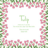 Postcard with pink tulips situated on the edge. Polygon style flowers. Vector illustration on white background Stock Photography