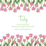 Postcard with pink tulips for your text. Polygon style flowers Stock Images