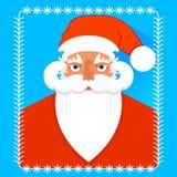 Postcard portrait of Santa Claus , flat design. Vector Stock Image