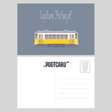 Postcard from Portugal with Lisboa tramway vector illustration. Portuguese capital transport design element in template card with post stamp Stock Photography