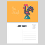 Postcard from Portugal vector illustration with Barcelos rooster stock illustration