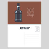 Postcard from Portugal vector illustration with bottle of porto wine Stock Images