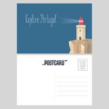 Postcard from Portugal vector illustration with lighthouse. On Atlantic shore. Portuguese architecture design element in template double sided card with post Royalty Free Stock Photography