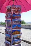 Postcard Postcards Stand Rome Italy Stock Photo