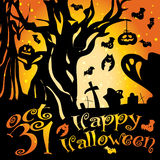 Postcard, poster, background, happy halloween Stock Photography
