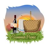 Postcard, poster or banner with a basket for a picnic, a bottle of wine and wine glasses. stock illustration