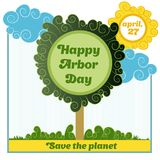 Happy Arbor Day. Postcard, poster or banner to the Happy Arbor Day royalty free illustration