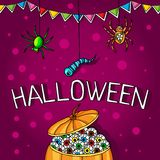 Postcard, poster for Halloween. Holiday magic, spiders, worms, spider webs. Big pumpkin with human eyes. Stock Images