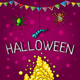 Postcard, poster for Halloween. Holiday magic, spiders, worms, spider webs. The flags for decoration. Decorative elements. Stock Photo