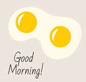 Postcard, poster with inscription Good morning. Fried eggs, breakfast, Good morning concept. Fried eggs icon. Vector illustration Royalty Free Stock Photography