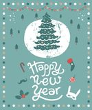 Happy New Year lettering and illustration. A postcard or a poster for the New year with a Christmas tree, festive decor and Christmas items: mask, toy, socks Stock Photo