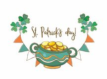 Postcard with a pot of gold for St. Patrick. Vector vector illustration