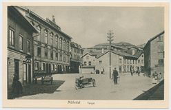 Postcard printed in Sweden shows view of the city of Molndal , circa 1910-14. Sweden, Molndal - CIRCA 1910-14: Postcard printed in Sweden shows view of the city stock images