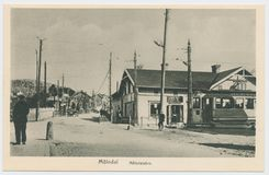 Postcard printed in Sweden shows view of the city of Molndal , circa 1910-14. Sweden, Molndal - CIRCA 1910-14: Postcard printed in Sweden shows view of the city royalty free stock photography