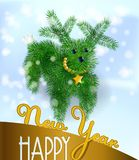 Postcard  puppy of Christmas tree branches. Postcard to the new year with the symbol of the year of the dog in the form of a puppy from Christmas tree branches Stock Photography