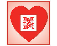 Postcard with qr code i love you Royalty Free Stock Image