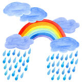 Postcard of a rain drops, rainbow and clouds. Watercolor hand drawn illustration.White background stock illustration