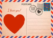 Postcard. Red Heart and words I love you. Air Mail. Postal card royalty free illustration