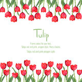 Postcard with red tulips for your text. Polygon style flowers Royalty Free Stock Photo