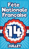 Postcard with Reminder Date of French National Day and Cockade, Vector Illustration Stock Images
