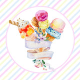 Postcard with ribbon for text and ice cream. Royalty Free Stock Photos