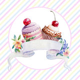 Postcard with ribbon for text and muffins. Royalty Free Stock Photo