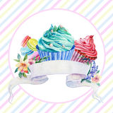 Postcard with ribbon for text and muffins. Royalty Free Stock Images