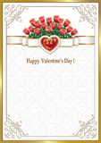 Postcard with roses in the background with hearts Stock Image