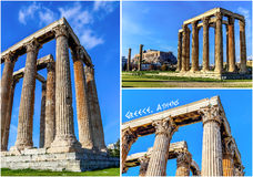 Postcard of ruins ancient temple Zeus, Athens Royalty Free Stock Photo