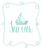 Postcard with sailboat and calligraphy Stock Image
