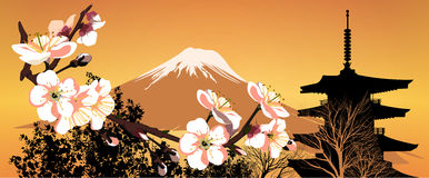 Postcard Sakura Japanese mountains Royalty Free Stock Photos