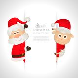 Postcard Santa Claus and sheep with space for text Royalty Free Stock Images