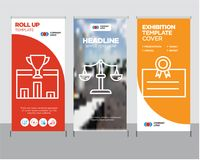 Postcard, scales, 1st place roll up. Postcard modern business roll up banner design template, scales creative poster stand or brochure concept, 1st place cover Stock Photography