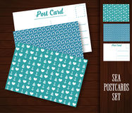 Postcard with sea patterns. Royalty Free Stock Images
