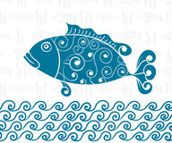 Postcard Sea Theme Seamless Background of Fish, Wave. Wallpaper, Sea, ocean, underwater, saltwater Fish, freehand drawing Royalty Free Stock Images