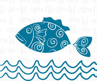 Postcard Sea Theme Seamless Background of Fish, Wave. Wallpaper, Sea, ocean, underwater, saltwater Fish, freehand drawing Royalty Free Stock Photography