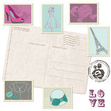 Postcard with Set of Fashion Stamps Stock Photography