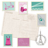 Postcard with Set of Fashion Stamps Stock Images
