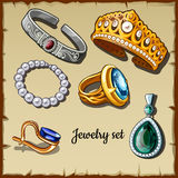 Postcard set of jewelry made stones, six icons Royalty Free Stock Image