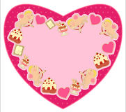 Postcard in the shape of heart Stock Photo