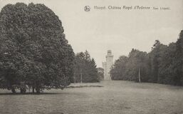 Postcard from 1923 showing the Ardenne Castle tower, or the Royal Castle of Ardenne Château Royal d`Ardenne, formerly also
