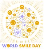 Postcard Smile Day. Greeting card. Holiday - World Smile Day on a white background. concept of charging the smile of the whole world Royalty Free Stock Photography