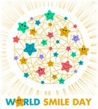 Postcard Smile Day stars. Greeting card. Holiday - World Smile Day on a white background. concept of charging the smile stars of the whole world royalty free illustration