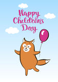 Postcard smiling cartoon fox with balloon for children day Stock Image