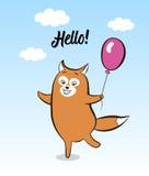 Postcard smiling cartoon joyful fox with balloon Royalty Free Stock Photography
