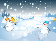Postcard with snowman Royalty Free Stock Photo
