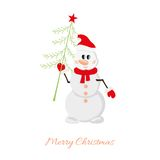 Postcard Snowman with Christmas tree Stock Images
