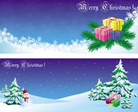 Postcard with snowman and gift. Royalty Free Stock Photos